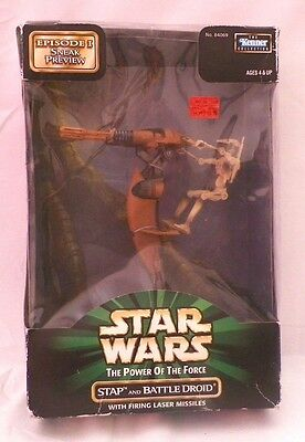 NIB Star Wars The Power Of Force Stap and Battle Droid with Laser Missiles