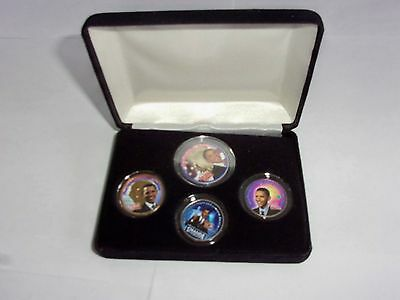 President Barak Obama colorized 4 coin set the obama change collection