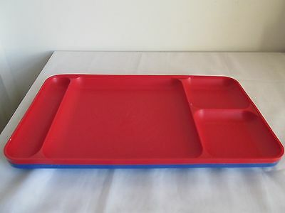 Lot of 2 Vintage Tupperware Section Divided Red and Blue Picnic Camping Trays