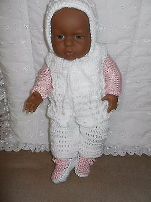 "Brown Berenguer Doll 15"" (38 cm) with Knitted/Crochet Outfit in Pink & White"