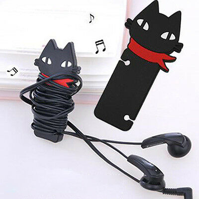 Funny Cute Mini Black Cat Headphone Earbud Cable Cord Manage Organizer Winder