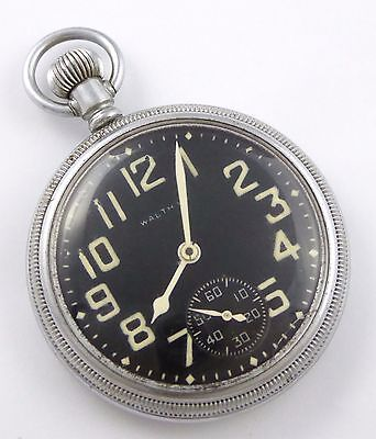 Antique 1900s Waltham Black Dialed Military Pocket Watch  LAYBY