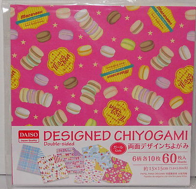 60sheets Double Sided Origami  Paper 6 patterns  Macaroon,Heart Print From Japan