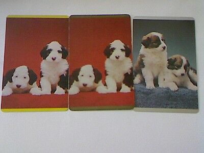 3 Single Swap/Playing Cards - Set Puppies (Old English Sheepdogs)#
