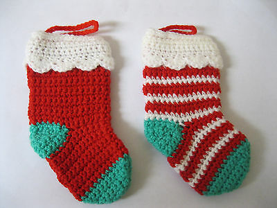 Set of  2 Christmas Tree Stockings SIZE 1 .1 RED.+ 1 candy stripe.