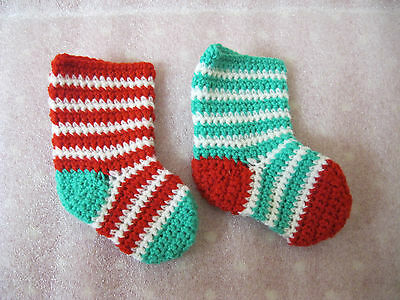 Set of  2 Christmas Tree Stockings SIZE 1-1 Red/white +1 Green/w candy stripe.