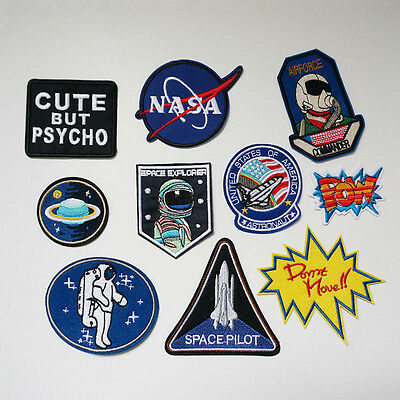 Embroidery NASA Plane Iron On Patch Badge Dress Bag Appliques for Sewing Bag New