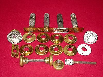 Antique Vintage Brass Mortise Door Lock Glass Knob Handle Hardware Parts