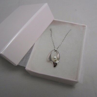 Mikimoto Akoya Pearl Silver Pendant Necklace /w leather strap  Authentic!
