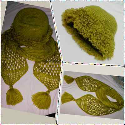 Woman & girle handmade knitted hat and scarf set