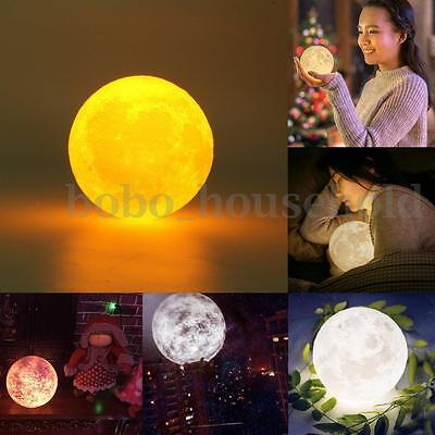 3D LED Moon Sky Night Lights Bulb USB Touch Switch 2 Colors Change Bedroom Decor