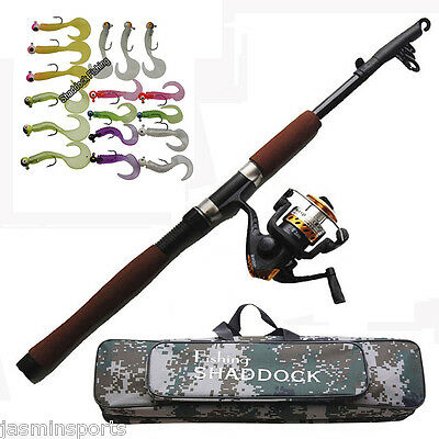 2.1M Fishing Rod Reel Combo Telescopic Spinning Rod and Reel Lures Tackle Kit