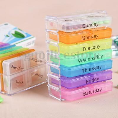 7 Day Weekly Tablet Pill Medicine Boxes Holder Storage Organizer Container Case