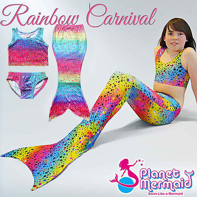 Real Swimmable Mermaid Tail Rainbow Carnival Swimming Swimwear Party Costume