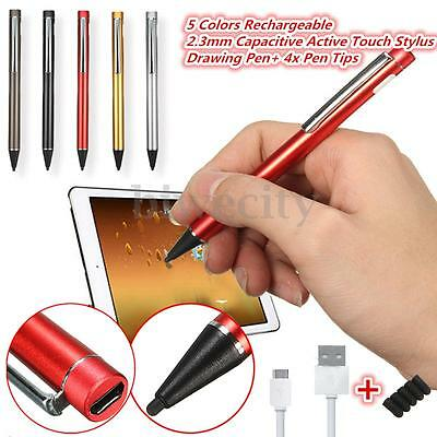 2.3mm Rechargeable Capacitive Active Touch Stylus Drawing Pen + 4PCS Pen Tip