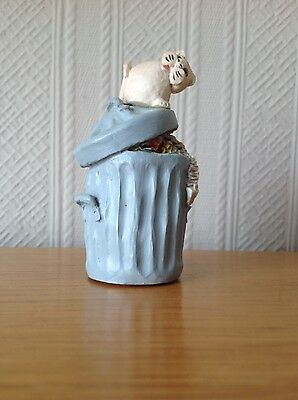 Cat Ornament. Peter Fagan Cat on Dustbin Made and hand painted in Scotland