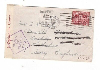 Australia 1945 CENSOR  Cover to UK, cds Melbourne Vic