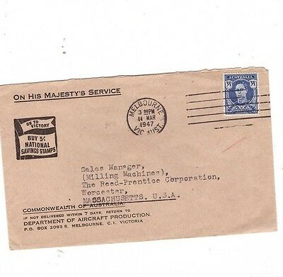 Australia 1947 OHMS  Cover to USA, cds Melbourne Vic