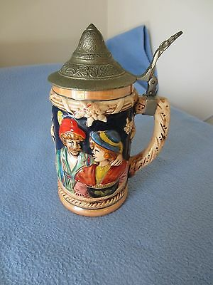 Ceramic Beer Stein With Decorative Pewter Lid
