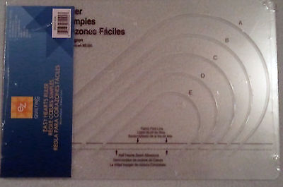Ez Simplicity Easy Hearts Ruler Acrylic Template Quilting Patchwork Brand New