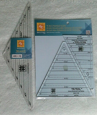Ez Tri-Recs Triangle Template & Tri Mate Template For Quilting Patchwork Bnew