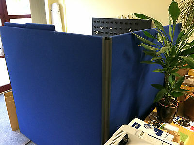 2x Large Free Standing Blue Office Privacy Screens with Connector