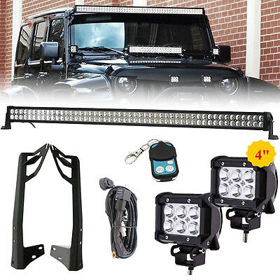 "300W 52""INCH LED Light Bar+4"" Spot Pods+Mount Bracket for 07-15 JK Jeep Wrangler"