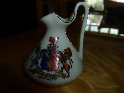 "Arcadian Crested China Salopian Ewer. Rare crest of ""Hogsthorpe"" Lincolnshire"
