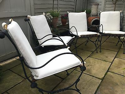 Garden Chairs Wrought Iron (set of 4 with cushions)