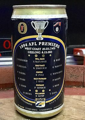 Fosters Lager. 375ml. 1994 AFL Premiers. West Coast Eagles. Collector Beer Can