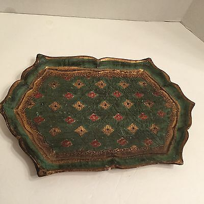 """HAND CRAFTED WOOD TOLE TOLEWARE TRAY ITALY Vintage 13"""" x 9"""" Green Red  GOLD"""