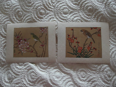 vintage Pair of Chinese Hand painted on silk picture birds