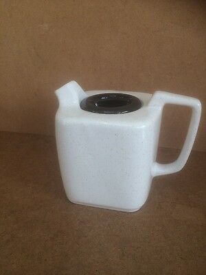 Unusual Square Teapot White with Black Lid Coffee Pot