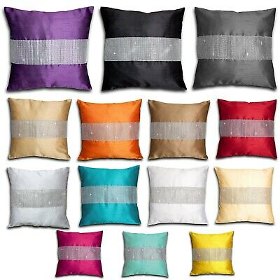 "Faux Silk Diamante Cushion Covers 18"" x 18"""