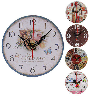 Vintage Non-Ticking Silent Wood Wall Clock Home Office Shabby Chic Antique Style