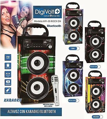 Altavoz Reproductor Portatil Karaoke Mp3 Movil Bluetooth Con Dos Microfonos