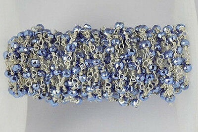 10 Feet Tanzanite Pyrite 3-4mm Faceted Rosary Beaded Chain 925 Silver Plated
