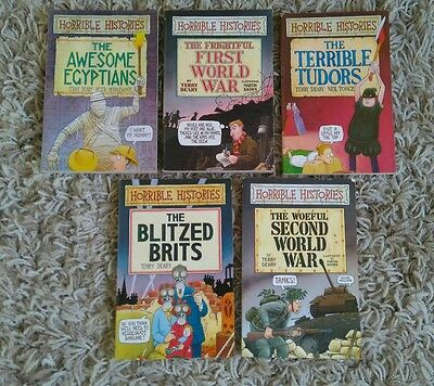 Set / Bundle of 5 Children's Horrible Histories Paperback Books by Terry Deary