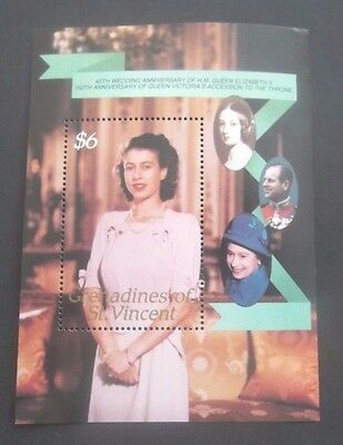 St Vincent-1987-Queen's 40th Wedding Anniversary Minisheet-MNH