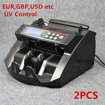 2PCS Currency Counter Cash Bank Note Counting Machine Fake Detector Pound Money