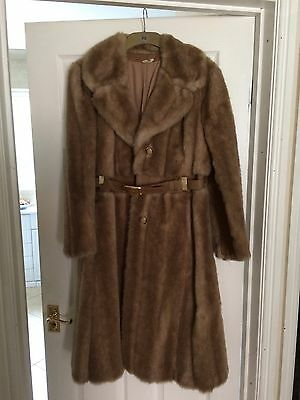 1970's Vintage Ladies Faux Fur And Leather Coat With Belt