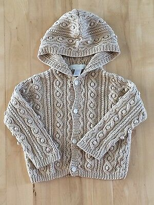 Janie and Jack knit button up hooded cardigan sweater size 12-18 mos