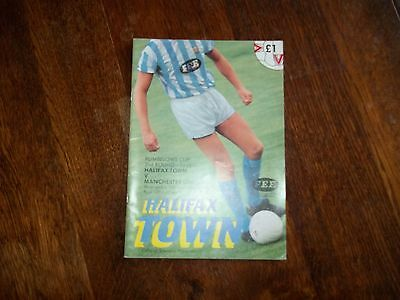 Football Programme. Halifax Town V Manchester United. Rumbelows Cup 2R 1L 1990