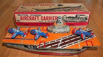 VINTAGE CRAGSTAN YONEZAWA AIRCRAFT CARRIER FRICTION TOY 1960's RARE BOXED JAPAN