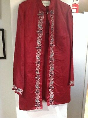 Vintage satin embroidered jacket in deep red size12