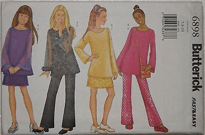Butterick 'Fast & Easy' Sewing Pattern 6898 Girls Dressy Top Pants Skirt Bag