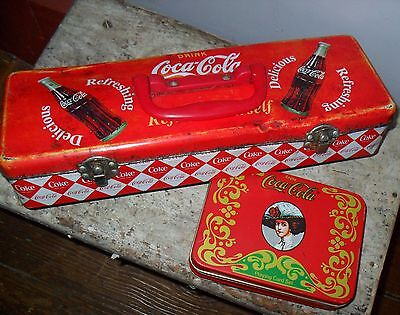 """Vintage Collectible Coke Tins Uncommon """"Toolbox"""" & Playing Card Tin, No Cards"""