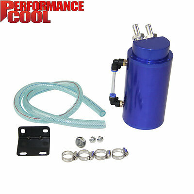 ALUMINUM ENGINE OIL CATCH TANK+HOSE kit CYLINDER ALLOY RESERVOIR BREATHER CAN pf