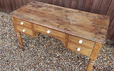 rustic aged antique country pine writing desk,table 5 drawers