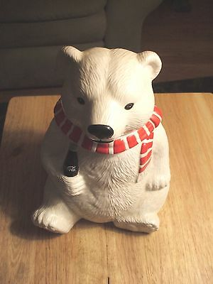 "Vintage 1996 Coca Cola Polar Bear Cookie Jar 10"" New In The Box --Collectible--"